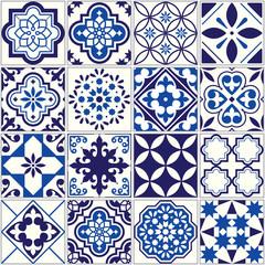 Vector tile pattern, Lisbon floral mosaic, Mediterranean seamless navy blue ornament