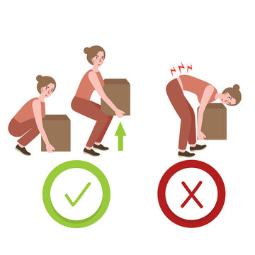 correct and wrong posture way lifting large object things illustration of proper position