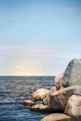Seascape vertical. Large Stones and Sea