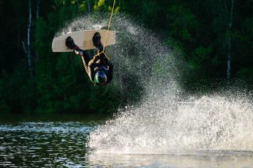 man wakeboarding and jumping Wall mural