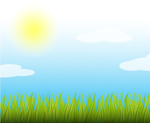 Summersunnyvector illustration. Blue sky and lightclouds.Natural backgroundwith brightsun and greengrass.