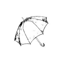 Opened umbrella sketch. Vector hand drawn illustration. Black element isolated on white background.