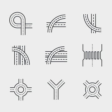 Road Overpass Crossroad Roundabout Minimalistic Flat Line Circle Solid Stroke Icon Pictogram Symbol Set Collection