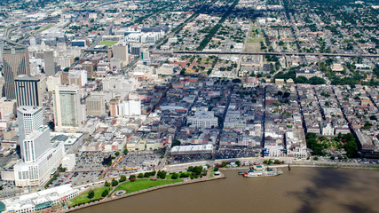 Aerial view of French Quarter and Downtown, New Orleans, Louisiana