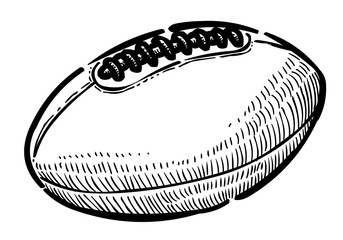 Cartoon image of Rugby ball. An artistic freehand picture.