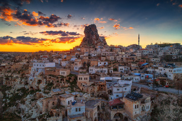 Aerial view of Uchisar castle in the sunset. Cappadocia. Nevsehir Province. Turkey