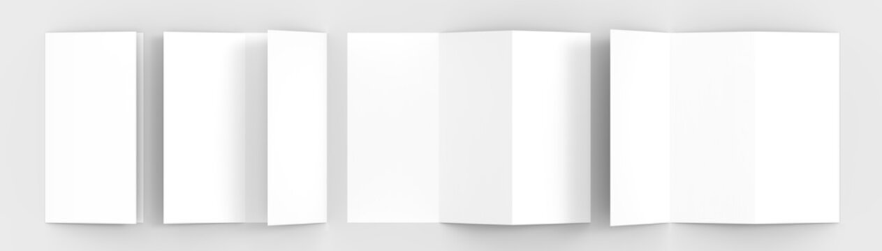 A4. Blank trifold paper brochure mock-up on soft gray background with soft shadows and highlights. 3D illustrating.