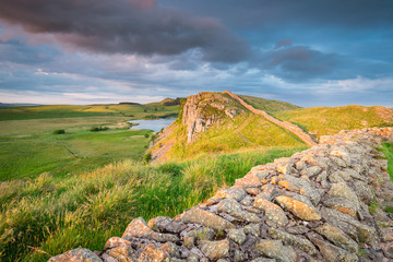 Hadrian's Wall above Highshield Crag / Hadrian's Wall is a World Heritage Site in the beautiful Northumberland National Park. Popular with walkers along the Hadrian's Wall Path and Pennine Way