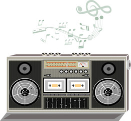 Music retro radio tape classic. vector art and illustration.