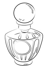 Cartoon image of perfume bottle. An artistic freehand picture.