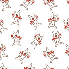 Seamless Pattern with Funny Dog and Gift