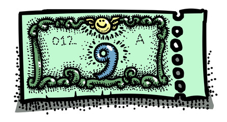 Cartoon image of Ticket Icon. Raffle symbol. An artistic freehand picture.
