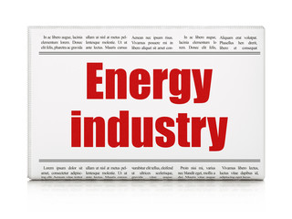 Manufacuring concept: newspaper headline Energy Industry