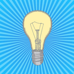 Lamp Bulb Hand Draw Sketch. Vector