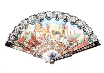 Vintage Hand Fan on White Background