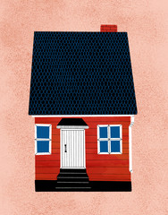 A red wooden house