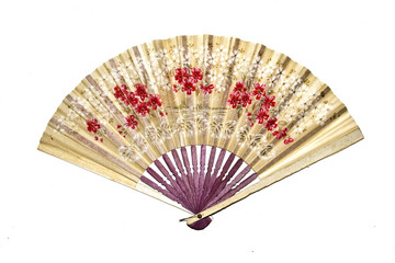 Vintage Hand Fan on White Background