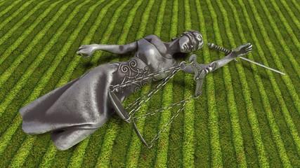 Broken lady of justice 3d rendering