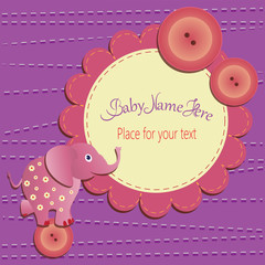 Funny elephant on the button. Baby shower card. Template invitations , greetings with cute toys, place for your text. The gift box design, with letters and children's illustrations.