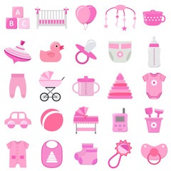 Baby girl icons set. Vector. Baby shower pink symbols isolated on white background. Collection template elements for newborn kids in flat design. Colorful illustration.