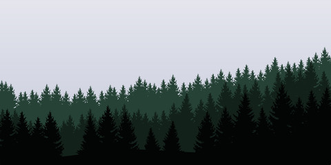 Panoramic view of landscape with green forest under cloudy sky - vector