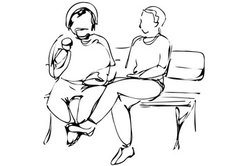 vector sketch two men sit on a park bench