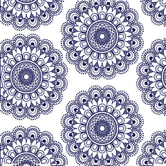 pattern dark blue flower mandala vintage decorative ornament vector illustration