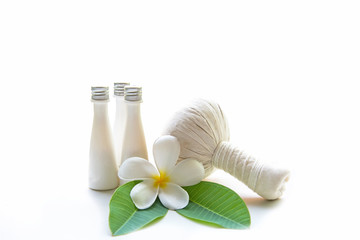 Thai Spa Treatments and massage flower on wooden white  background, copy space.  Healthy Concept.