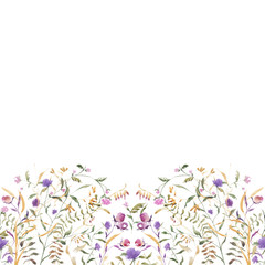 Handwork watercolor illustration. .Seamless pattern with watercolor abstract wildflowers on white background, isolated watercolor illustration. Invitation. Wedding card. Birthday card..