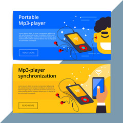 Mp3 player promo web banner ad. Portable smart audio equipment promotion advertisement layout. Mobile device with wireless technology. IOT appliance background.
