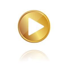 Play - Wiedergabe - Gold Münze mit Reflektion