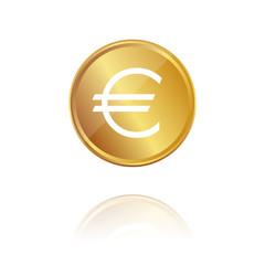 Euro - Gold Münze mit Reflektion