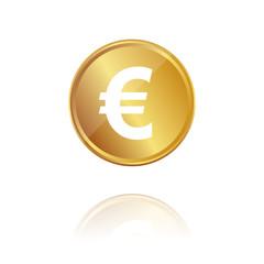 Euro Münze - Gold Münze mit Reflektion