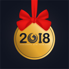 Happy New Year 2018 round banner, red ribbon and bow