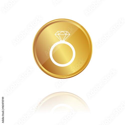 Ring Mit Diamant Gold Munze Mit Reflektion Stock Image And