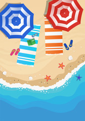 Beach from above, view with umbrella, beach towel, sunglasses and flip flop. Vector hand drawn illustration