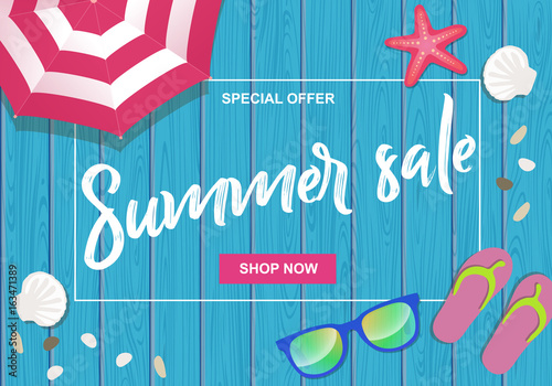 c36d8c1dcebfe Summer sale written on wooden background with beach umbrella