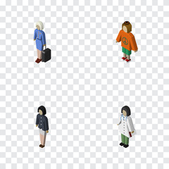 Isometric People Set Of Girl, Doctor, Lady And Other Vector Objects. Also Includes Hostess, Doctor, Nurse Elements.