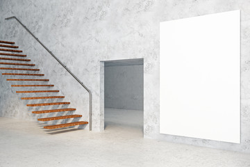 Concrete room with empty poster