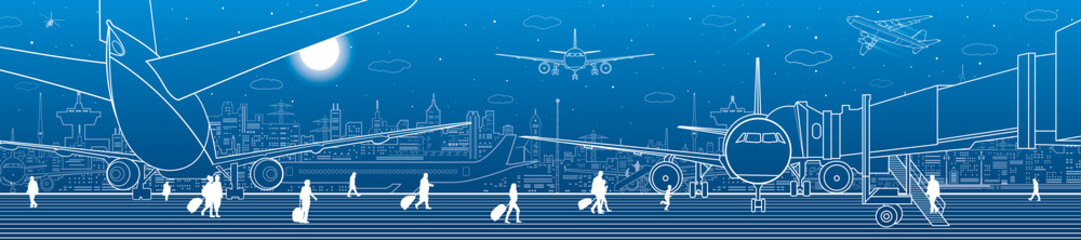 Fotomurales - Airport panorama. The plane is on the runway. Aviation transportation infrastructure. Airplane fly, people get on the aircraft. Night city on background, vector design art