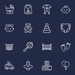 Set Of 16 Baby Outline Icons Set.Collection Of Bib, Diaper, Drum And Other Elements.