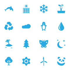 Set Of 16 Nature Icons Set.Collection Of Midnight, Flowerpot, Blob And Other Elements.