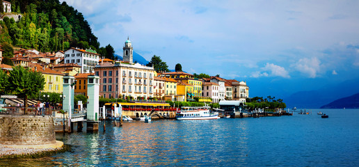 beautiful Lago di Como - panorama of Bellagio town. North of Italy