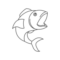sketch silhouette of open mouth fish vector illustration