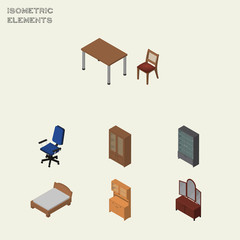 Isometric Furniture Set Of Drawer, Cabinet, Office And Other Vector Objects. Also Includes Cabinet, Wardrobe, Mirror Elements.