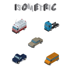 Isometric Transport Set Of First-Aid, Suv, Truck And Other Vector Objects. Also Includes Aid, Bus, Car Elements.