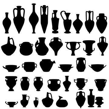 Antique ceramics, vector silhouettes
