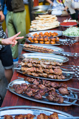 Barbecue. Fried shish kebab from pork meat. Fried chicken meat. Lamb on charcoal