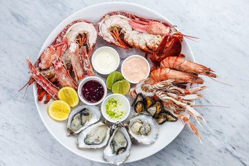 Fresh seafood platter with lobster, mussels and oysters