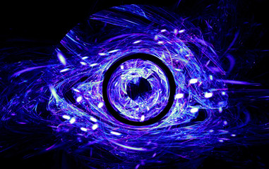 Abstract the symbol for the celebration of Halloween in the form of terrible demonic eye. Fractal art graphics